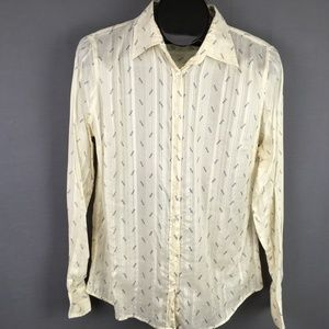 J Crew Horseshoe Sheer Button Front Shirt Medium